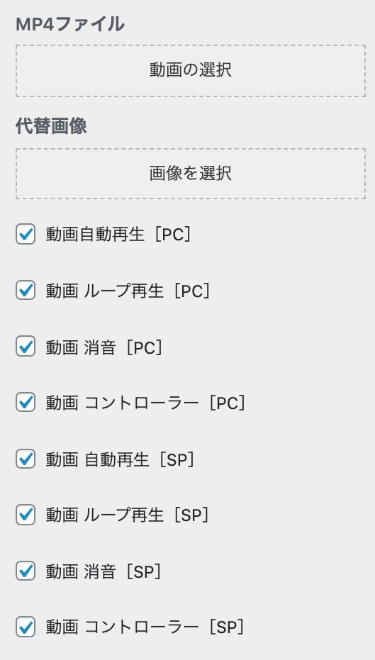 MP4ファイル設定